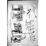 La Impresión Antigua de 1881 Atletas de la Escuela de Westminster de los Deportes Atléticos Martilla Poste Que...