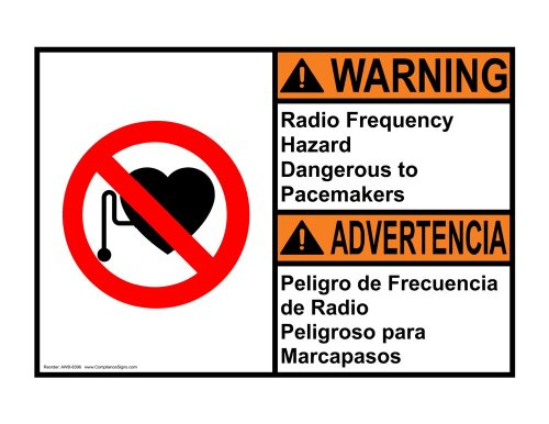 Compliancesigns Aluminum Ansi Warning Sign, 14 X 10 In. With Mri / X-Ray / Microwave Info In English + Spanish, White