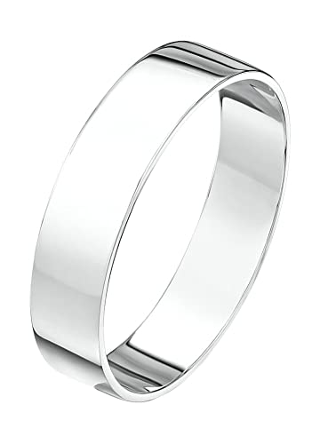 Theia Unisex Heavy Flat Shape Polished Platinum Wedding Ring