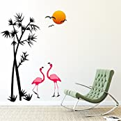 DeStudio Palm Tree With Flamingo, Multi Color, Wall Stickers (Wall Covering Area : 105cm X 130cm)-11432