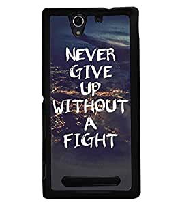 Fuson Premium Never Give Up Metal Printed with Hard Plastic Back Case Cover for Sony Xperia C3 Dual