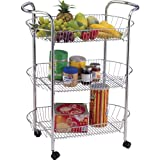 3 TIER KITCHEN VEGETABLE FRUIT STORAGE TROLLEY CART