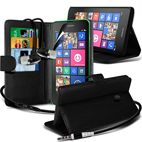 Fone-Case ( Black ) Nokia Lumia 630 Leather Wallet Stand Flip Case Skin Cover With Screen Protector Guard & Aluminium In Ear Earbud Stereo Hands Free Headphones Earphone Headset With Built In Microphone Mic & On-Off Button