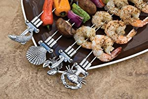 Charcoal Companion Double Prong Coastal Grilling Kabob Skewers Set Of 4 by Charcoal Companion