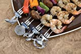 Charcoal Companion Double Prong Coastal Grilling Kabob Skewers (Set of 4) - CC5093