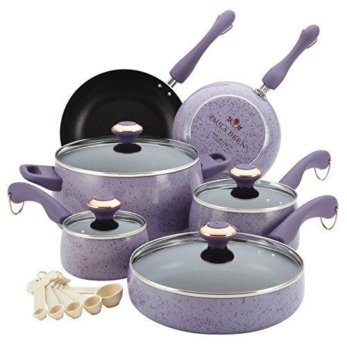 Paula Deen Signature Porcelain Nonstick 15-Piece Cookware Set, Lavender Speckle (Paula Deen Cookware Lavender compare prices)