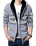 (ベクー)Bekoo メンズ ジップ ニット カーディガン パーカー フード 付き カウチン セーター (12 灰花 XXL)