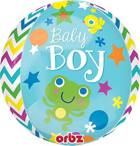 "Anagram International Sweet Baby Boy Orbz Balloon, 16"", Multicolor"
