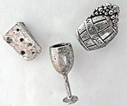15 PCS WINE & CHEESE ANTIQUE SILVER PUSH PINS