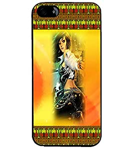 PrintDhaba Girl with Gun D-4590 Back Case Cover for APPLE IPHONE 4 (Multi-Coloured)