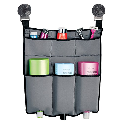 mdesign-suction-neoprene-fabric-shower-caddy-for-shampoo-conditioner-soap-light-gray-charcoal