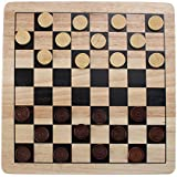 All Natural Wood 2-in-1 Checkers and Tic-Tac-Toe Set with Wooden Pieces by Brybelly