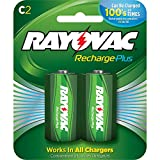 Rayovac Recharge PLUS High-Capacity Rechargeable 3000 mAh NiMH C Pre-Charged Batteries, 2-pack (PL714-2)