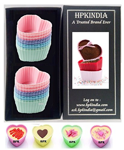 HPK INDIA Microwave & Freezer & Backing Tray Safe & Reusable Silicon Cup Cakes Assorted Colors hpk branded box pack