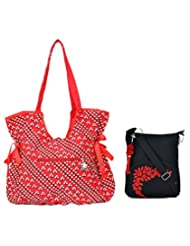 Combo Of Beautiful Red Fancy Handbag With Black Small Sling Bag
