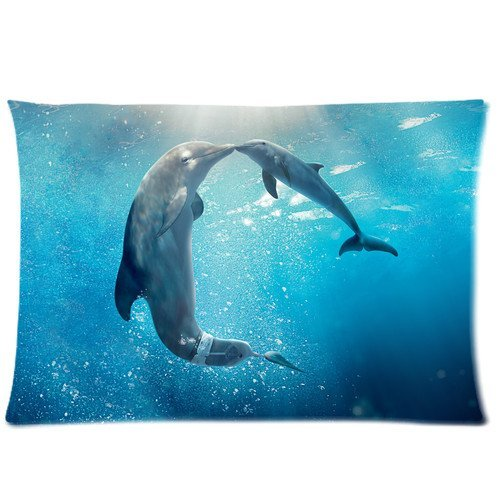 Pookeb Dolphin Tale Poster Pillow Cover Design Zippered Pillowcase Personalized Throw Pillowcases Decorative Sofa Or Bed Pillow Case Cover 20x30(2 Sides) Great Gifts For Friends Or Families by Generic
