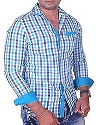 Equipoise Men's Cotton Casual Shirt (EQ-12 L/42_Blue_L )