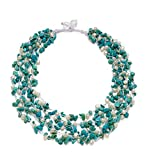 """HinsonGayle """"Kayla"""" 5-Strand Handwoven White Freshwater Cultured Pearl & Turquoise Necklace"""