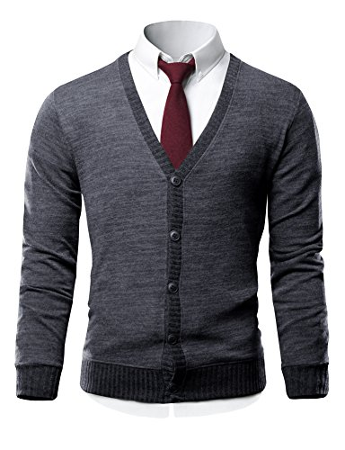 HARRISON83 Mens Slim Fit V-Neck Button Up Cardigan Sweater ...