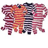 """Leveret """"Little Girl"""" Striped 2 Piece Pajama Set 100% Cotton (Size 6M-5T)"""