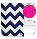 Navy Chevron Fashion Notebook Journal Blank Lined Composition Notebook 7