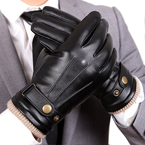 Mens Touchscreen Texting Winter PU Leather Gloves Driving Outdoor Long Fleece Lining (8, Black)