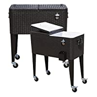Tenive 80-quart Rolling Wheels Ice Chest Portable Patio Party Bar Drink Entertaining Outdoor Cooler Cart by Ningbo Teiliwei Textile Technology Co., LTD