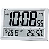 SEIKO CLOCK (セイコークロック) 掛け時計 置き時計 兼用 デジタル 電波時計 温度表示 湿度表示 大型 薄型 (銀色メタリック塗装) SQ433S SQ433S