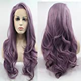 Lucyhairwig Long Wavy Synthetic Lace Front Wig Glueless Purple High Temperature Heat Resistant Fiber Hair Wigs For Women (Color: Purple Wavy)