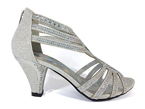 Kinmi25N Womens Open Toe Mid Heel Wedding Rhinestone Gladiator Sandal Shoes (9, Silver)