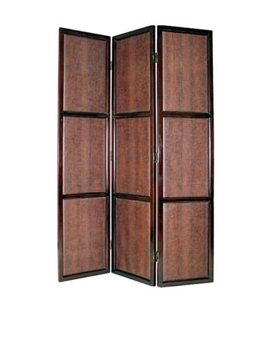 Charleston Faux Leather Screen, Dark Brown