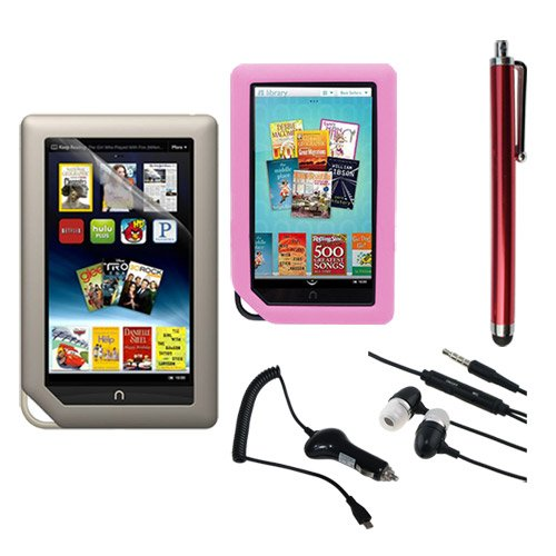 Skque Clear Screen Protector + Pink Soft Silicone Cover Case + Touch Screen Tablet/Smart Phone Stylus Pen(Red Body) + Earphone headset w/mic + 2100Mah Rapid Car Charger for Barnes&Noble Nook Color Ebook Reader