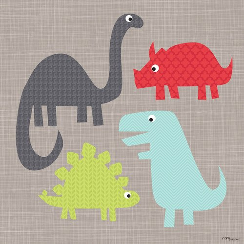 Oopsy daisy, Fine Art for Kids A Gathering of Dinosaurs Stretched Canvas Art by Vicky Barone, 18 by 18-Inch