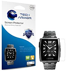 Tech Armor Pebble Steel High Definition (HD) Clear Screen Protectors - Maximum Clarity and Touchscreen Accuracy [3-Pack] Lifetime Warranty