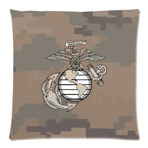 """Marines The Few The Proud Usmc Logo With Camo Print Custom Zippered Pillow Cushion Case Throw Pillow Covers 18""""X18""""(Two Sides) front-1020556"""