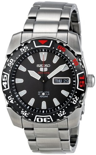 Stainless Steel Seiko 5 Sports Automatic Black Dial Bezel Red