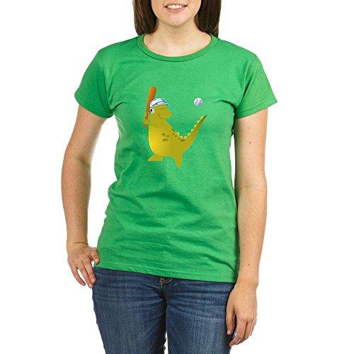 Truly Teague Organic Women's T-Shirt Drk Baseball Playing Dinosaur - Grass Green, XL