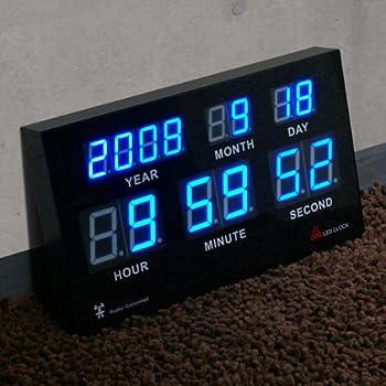 電波時計 高輝度LED搭載 7セグデジタルカレンダー電波クロック (日本基準時を受信する電波時計) 壁に掛けても床に置いてもCoolなデザインインテリア!