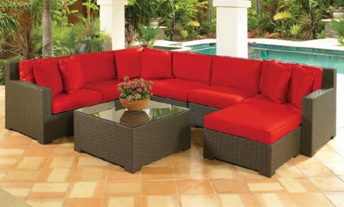 8 Piece Resin Wicker Malibu Sectional Sofa With Ruby Red