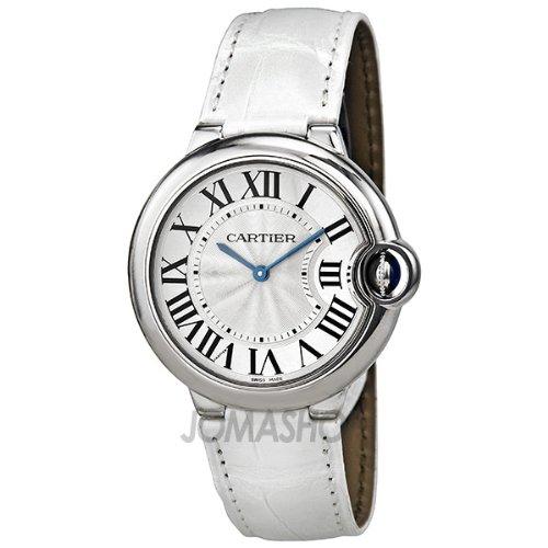 Cartier Ballon Bleu Silver Dial Stainless Steel White Leather Ladies Watch W6920087
