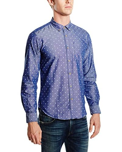 Springfield Camisa Hombre Pinpoint Print Square Azul
