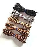手芸材料 スエード 革ひも 5色 50本セット 茶 & 黒 系
