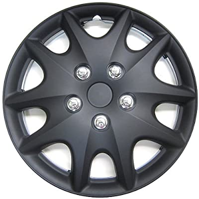 "Kuan Tong KT1009 Matte Black Finish 14"" ABS Plastic Wheel Cover"