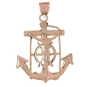Necklace Obsession's Rose Gold-plated 925 Silver 66mm Mariners Cross/Crucifix Pendant Necklace