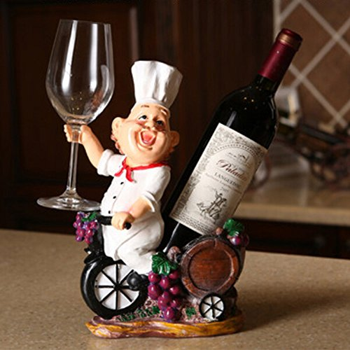 OLizee™Fat Chef Resin Decorative Wine Bottle Holder Rack 24*31*12CM (Chef Wine Rack compare prices)