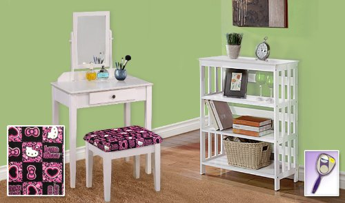 New White Finish Make Up Vanity Table With Mirror & Hello Kitty Themed Bench And 4 Tier White Finish Book Shelf Includes Free Hand & Purse Mirror! front-1063540