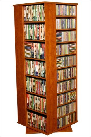 Cherry Venture Horizon Large CD,DVD Revolving Media Tower, Available in Multiple Finishes