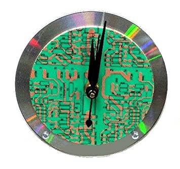 Amazon.com: Recycled Circuit Board And CD Desk Clock For Nerds And ...