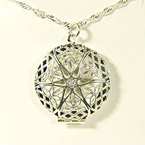 Sterling Silver Aromatherapy Diffuser Locket Pendant Necklace