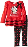 Disney Little Girls' Minnie Mouse Two-Piece Skirt-Hem Top with Print Legging